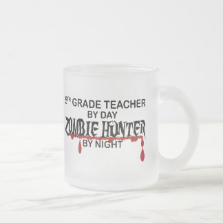 5th Grade Zombie Hunter Night Frosted Glass Coffee Mug