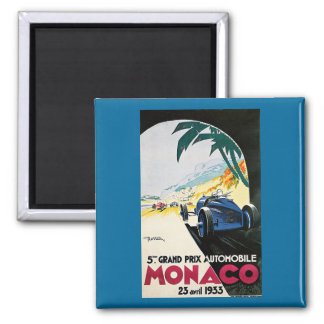 5th Grand Prix de Monaco Vintage Advertising Poste 2 Inch Square Magnet