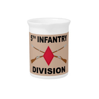 5th Infantry Division - Crossed Rifles - With Text Drink Pitcher