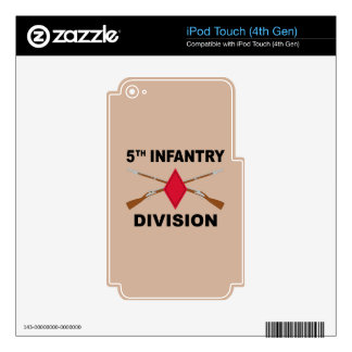 5th Infantry Division - Crossed Rifles - With Text iPod Touch 4G Decals