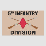5th Infantry Division - Crossed Rifles - With Text Rectangular Sticker