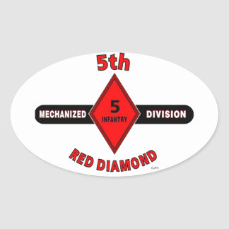 "5TH INFANTRY DIVISION (MECHANIZED)""RED DIAMOND"" OVAL STICKER"