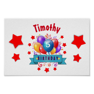 5th KIDS Birthday Festive Colorful Balloons V10JZ Poster