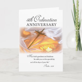 5th Ordination Anniversary, Cross Candle Card