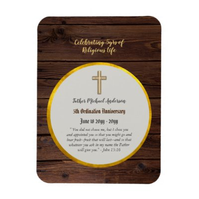 5th Ordination Anniversary Priest Wood Gold Magnet