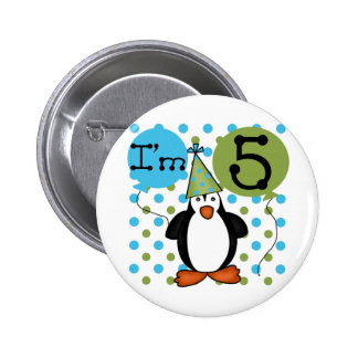 5th Penguin Birthday tshirts and Gifts Pinback Button