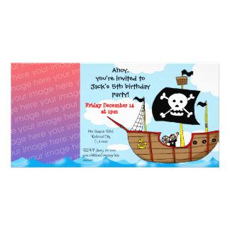 5th pirate birthday boy party invitations photo card