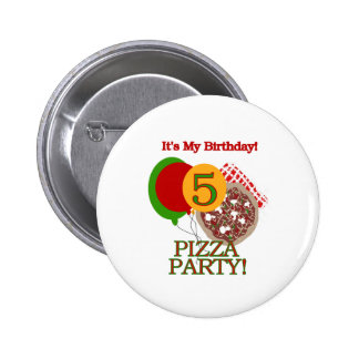 5th Pizza Party Birthday Pins