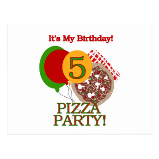 5th Pizza Party Birthday Tshirts and Gifts Postcard