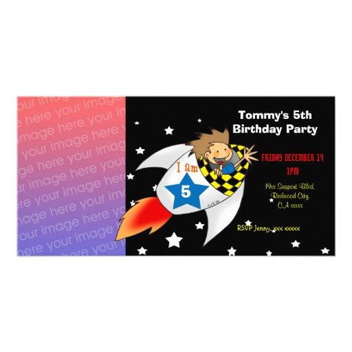 5th rocket birthday boy party invitations photo card template