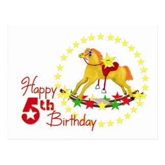 5th Rocking Horse Birthday Postcard