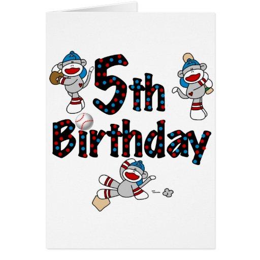 5th Sock Monkey Baseball Birthday Greeting Card