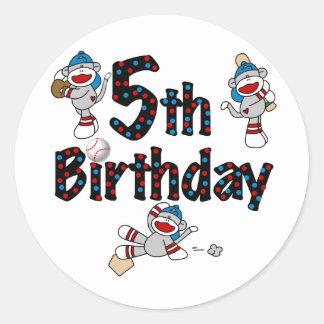 5th Sock Monkey Baseball Birthday Round Stickers