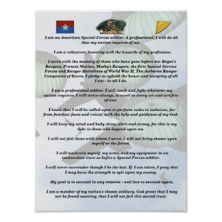 5th special forces green berets creed print