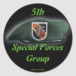 5th Special forces Green Berets SF SFG SOF Classic Round Sticker