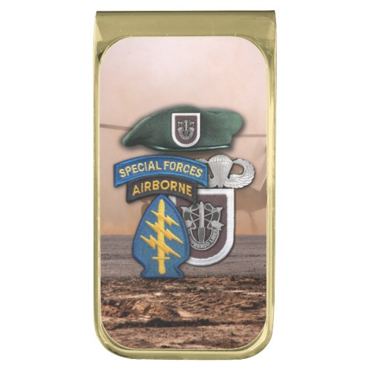 5th special forces green berets veterans vets gold finish money clip