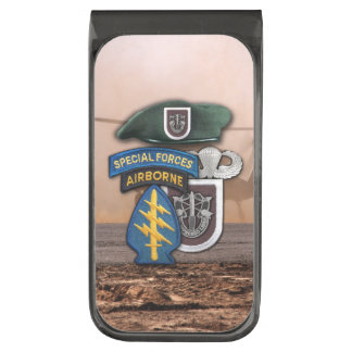5th special forces green berets veterans vets gunmetal finish money clip
