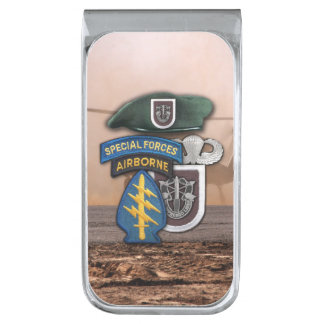 5th special forces green berets veterans vets silver finish money clip
