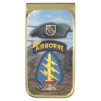 5th Special forces Green Berets Vietnam Nam War Gold Finish Money Clip
