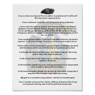 5th special forces green berets vietnam vets creed poster
