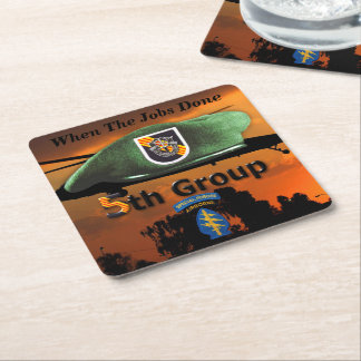 5th Special Forces Group SF SFG Green Berets Square Paper Coaster