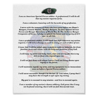 5th special forces group veterans vets creed print