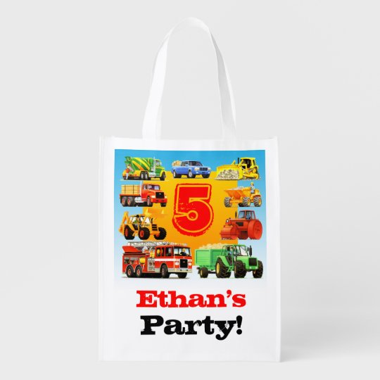 5th Truck Birthday Party Reusable Grocery Bag