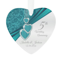 5th Turquoise Wedding Anniversary Ornament