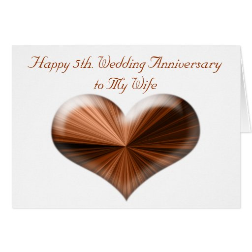 5th Year Wedding Anniversary Gift For Husband : 5th. Wedding Anniversary Card to Husband and Wife Zazzle