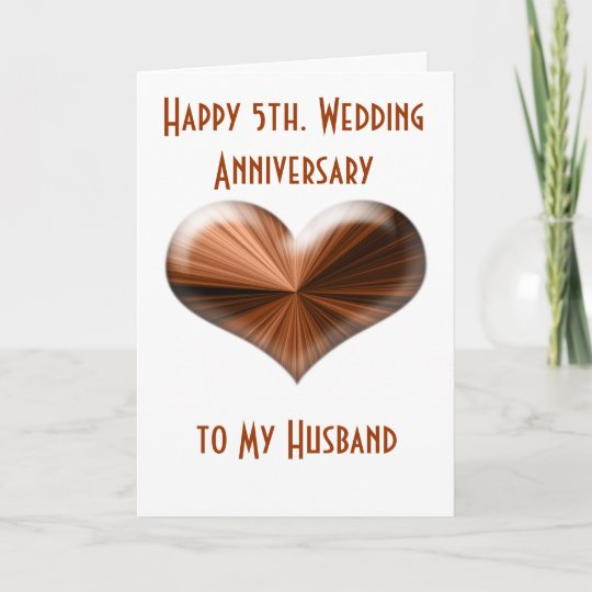 5th. Wedding Anniversary Card to Husband and Wife | Zazzle.com