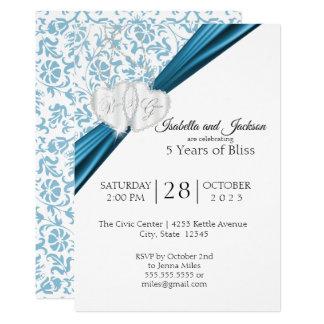 5th Wedding Anniversary Design - Blue Invitation