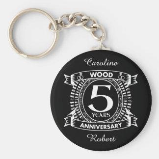 5th wedding anniversary distressed crest keychain