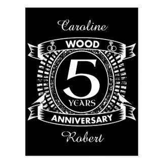 5th wedding anniversary distressed crest postcard