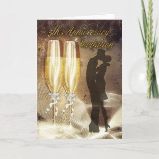 5th Wedding Anniversary Invitation Card - Champagn