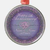 5th Wedding Anniversary Metal Ornament