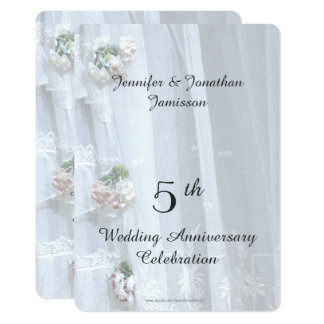 5th Wedding Anniversary Party, Vintage Lace Invitation