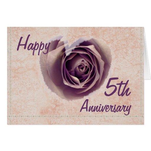 5th Year Anniversary: 5th Wedding Anniversary - Purple Rose Heart Card