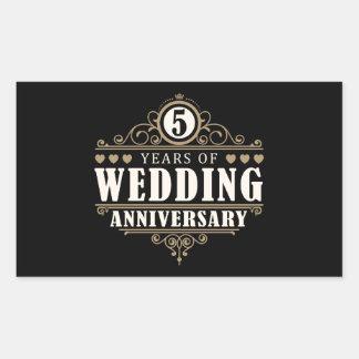 5th Wedding Anniversary Rectangular Sticker
