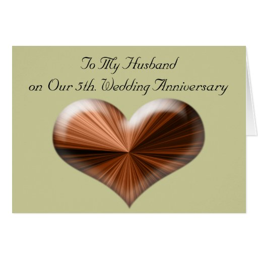 Happy Wedding Anniversary Gift For Husband : 5th Wedding Anniversary to My Husband Card Zazzle