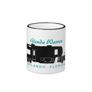 5th Wheel RV Silhouette Graphic Ringer Coffee Mug