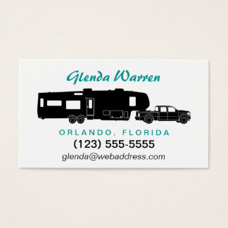 5th Wheel RV Silhouette Personal Calling Card