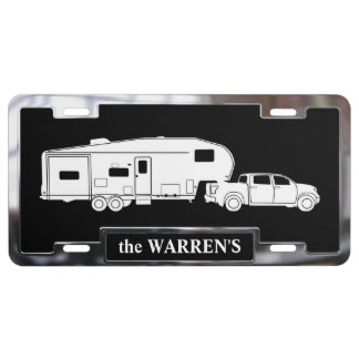5th Wheel Trailer on License Plate