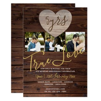 5th WOOD Anniversary PHOTO Rustic Invite