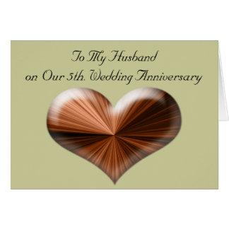 5to Aniversario de boda a mi tarjeta del marido