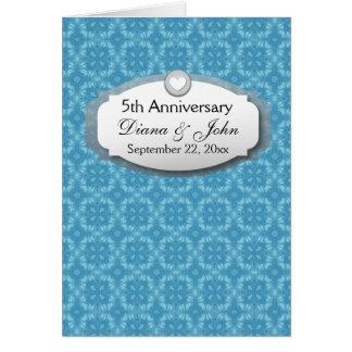 5to Aniversario de boda del aniversario Z20 azul Tarjeta Pequeña
