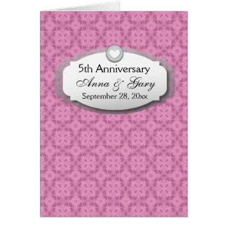 5to Aniversario de boda del aniversario Z21 Tarjeta Pequeña