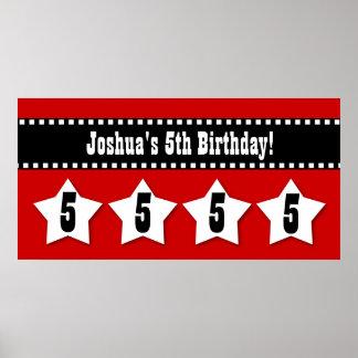 5to Bandera del cumpleaños con el nombre de Impresiones