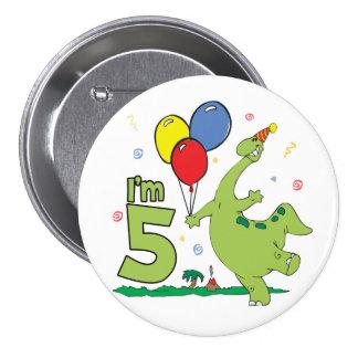 5to botón del cumpleaños de Dino Pin Redondo De 3 Pulgadas