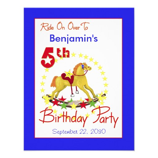 5to Caballo mecedora de la fiesta de cumpleaños Invitacion Personalizada