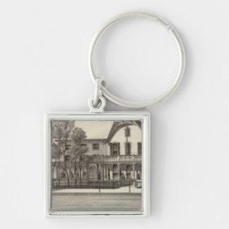5to Casa de la avenida, playa del océano, NJ Llavero Cuadrado Plateado